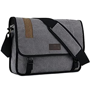 "Plambag Men's Canvas Crossbody Messenger Bag 15.3"" Laptop School Shoulder Bag Grey"