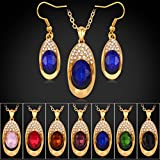 GDSTAR Austrian Crystal Jewelry Sets For Women Vintage Pendant Necklace & Drop Earrings 18K Real Gold Plated Fashion Jewelry Set