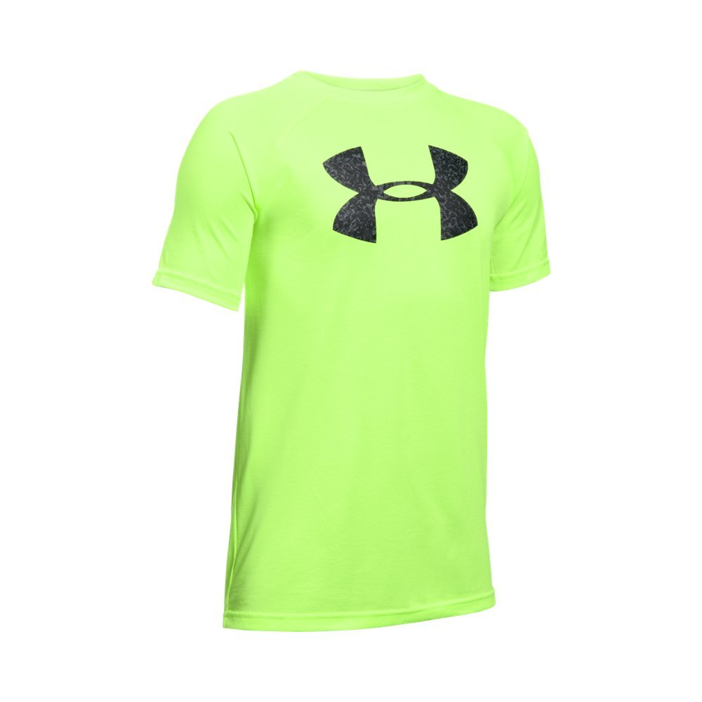 Under Armour Boys' Tech Big Logo T-Shirt, Fuel Green/Stealth Gray, Youth X-Small