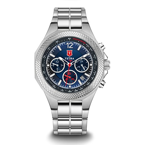 "Tetra Men's Italian Design Special Edition ""Torino Aventura"" Swiss Luminous Watch Solid Triple Link Stainless Steel Bracelet Dual-Time Professional Water Resistance 330 FT Luxury Gift Box ()"