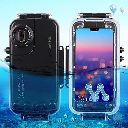 Fangoog for iPhone Xs Max Underwater Housing Professional IPX8 40m/130ft Diving Explosion-Proof Mobile Phone Case with Lanyard for Diving Surfing Swimming Snorkeling Photo Video (Huawei P20,Black)