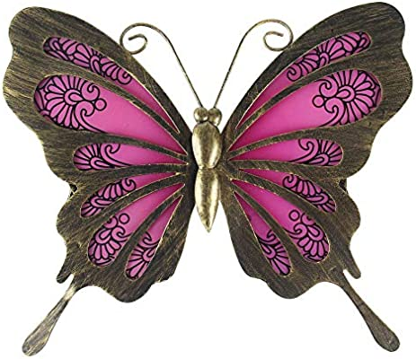 Liffy Metal Butterfly Wall Decor Outdoor Art Decorations Red Dark For Living Room Bedroom
