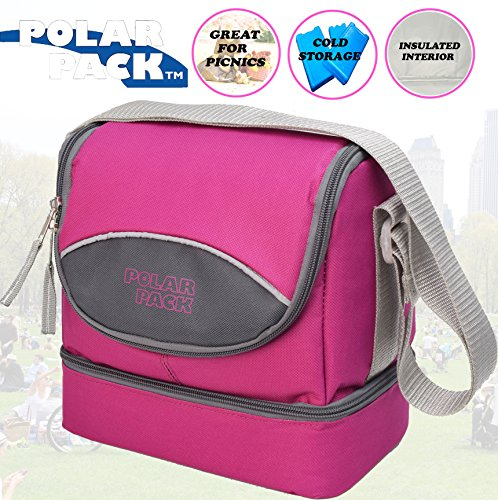 Edge Fine Trendy (POLAR PACK Soft Insulated Cooler Bag with Zipper Pockets Handle Carry Insulated Picnic Bag Outdoor Indoor Travel Lunch Bag for Sports Home & Travel Camping (RASPBERRY CHARCOAL))