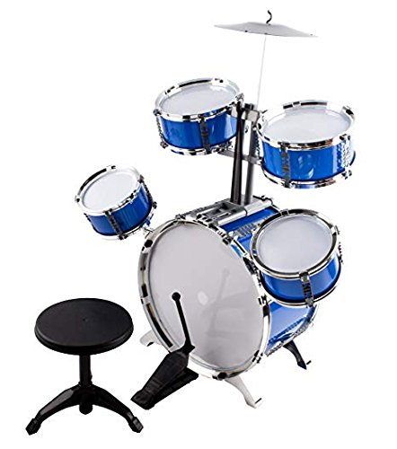 Tony&lyh Classic Rhythm Toy Jazz Drum medium XL Size Children Kid's Musical Instrument Toy Drum Playset w/ 5 Drums, Cymbal, Chair, Kick Pedal, Drumsticks (Blue)