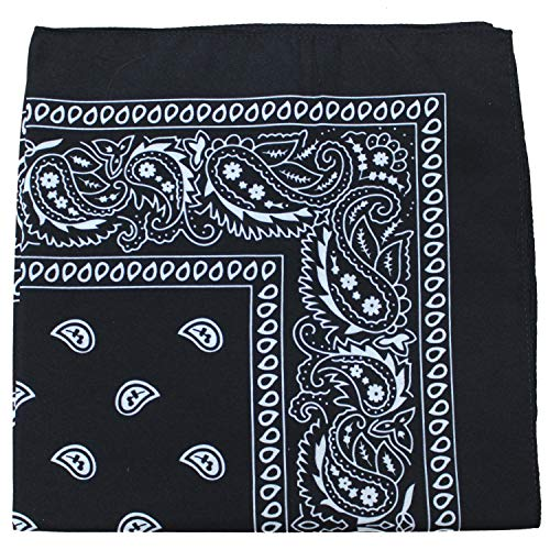 - Paisley 100% Cotton Double Sided Bandana - 22 inches (Black)