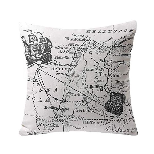 51rZvHm5T L Gspirit 4 Stück Kissenbezug Schwarz und weiß Segeln Navigation Kompass Dekorative Kissenhülle Baumwolle Leinen Werfen…