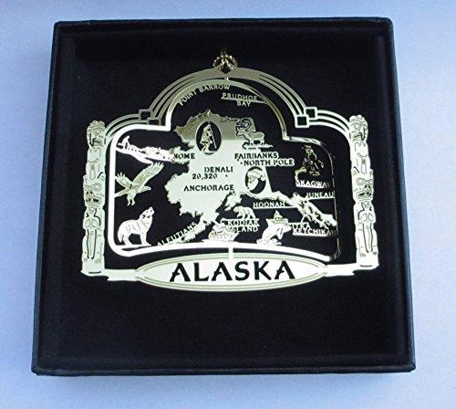 Alaska State Brass Ornament Black Leatherette Gift Box