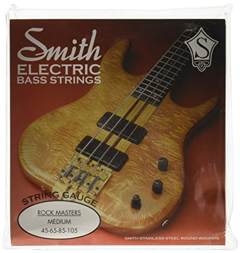 SMITH ELECTRIC BASS STRINGS MASTER SERIES AA-RMM Rock Masters Medium Stainless Steel Bass Guitar Strings, (Round Wound Double Bass Strings)