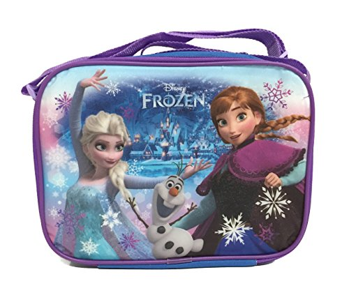 All New Disney Frozen Blue Lunch Bag with Strap Features Elsa Anna Olaf