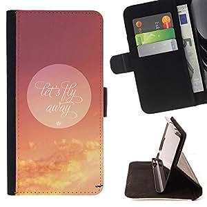 BullDog Case - FOR/LG OPTIMUS L90 / - / fly away motivational dreams quote plane /- Monedero de cuero de la PU Llevar cubierta de la caja con el ID Credit Card Slots Flip funda de cuer