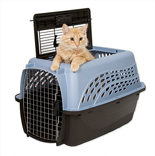 Petmate-Two-Door-Top-Load-24-Inch-Pet-Kennel-Metallic-Pearl-Ash-Blue-and-Coffee-Ground-Bottom