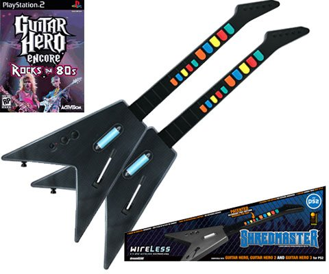 PS2 Guitar Hero Encore + 2 x PS2 Shredmaster Wired / Wireless Rechargeable Guitars (Carbon Fiber / B