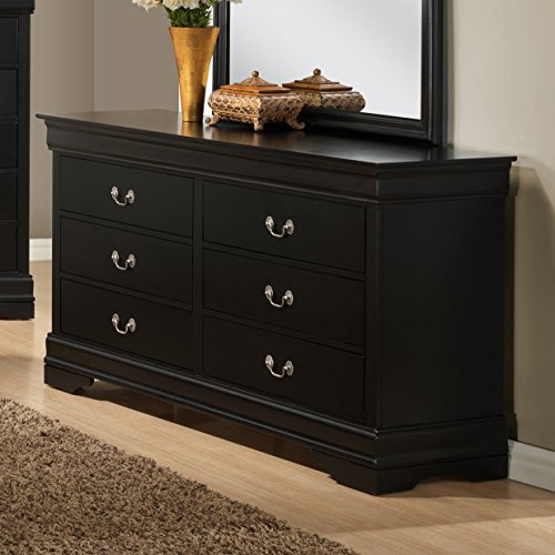 Roundhill Furniture Isony 594 Louis Philippe Style Wood Dresser, Black by Roundhill Furniture