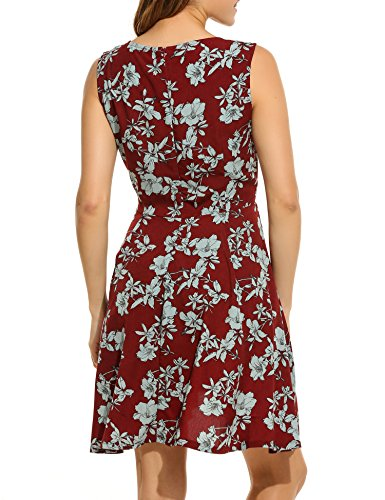 V Sexy gonna Floral di a Aimado scollo senza Dress maniche Woman rosso vino zBpqY