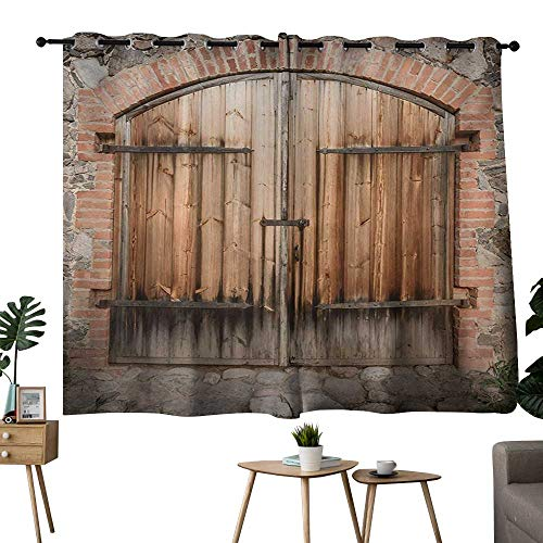 (Blackout Curtain Panels Window Draperies Rustic,Wooden Door of a Stone House with Wrought Iron Elements Tuscany Architecture Photo,Brown Grey,room darkening waterproof curtains for bathroom 42