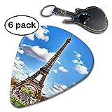 Janvonne Eiffel Tower 351 Shape Classic Celluloid Guitar Picks for Guitar Bass - 6 Pack .96mm