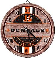 NFL Cincinnati Bengals Team Logo Wood Barrel Wall ClockTeam Logo Wood Barrel Wall Clock, Team Color, One Size
