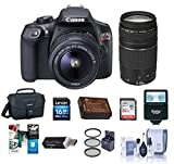 Canon EOS Rebel T6 DSLR Digital Camera with EF-S 18-55mm f/3.5-5.6 IS II EF 75-300mm F4-5.6IIILenses, Lexar SD 32GB Memory Card, 58mm Filter Kit, Creative Suite Software, Value Accessory Kit