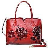 PIJUSHI Top Handle Bag for Women Designer Floral Purses Satchel Handbag (6913, Red)