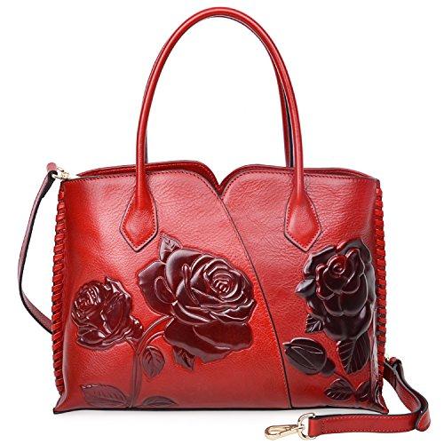De Pijushi Red Para Piel Bolso Mujer Asas Otra qwnwaB7vA