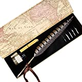 2018 New GC Quill Pen Antique Feather Pen Handcrafted Calligraphy Pen Set Dip Nib Pens-Writing Case with Black Ink Pen Holder Cartridges Gift Deal LL1814