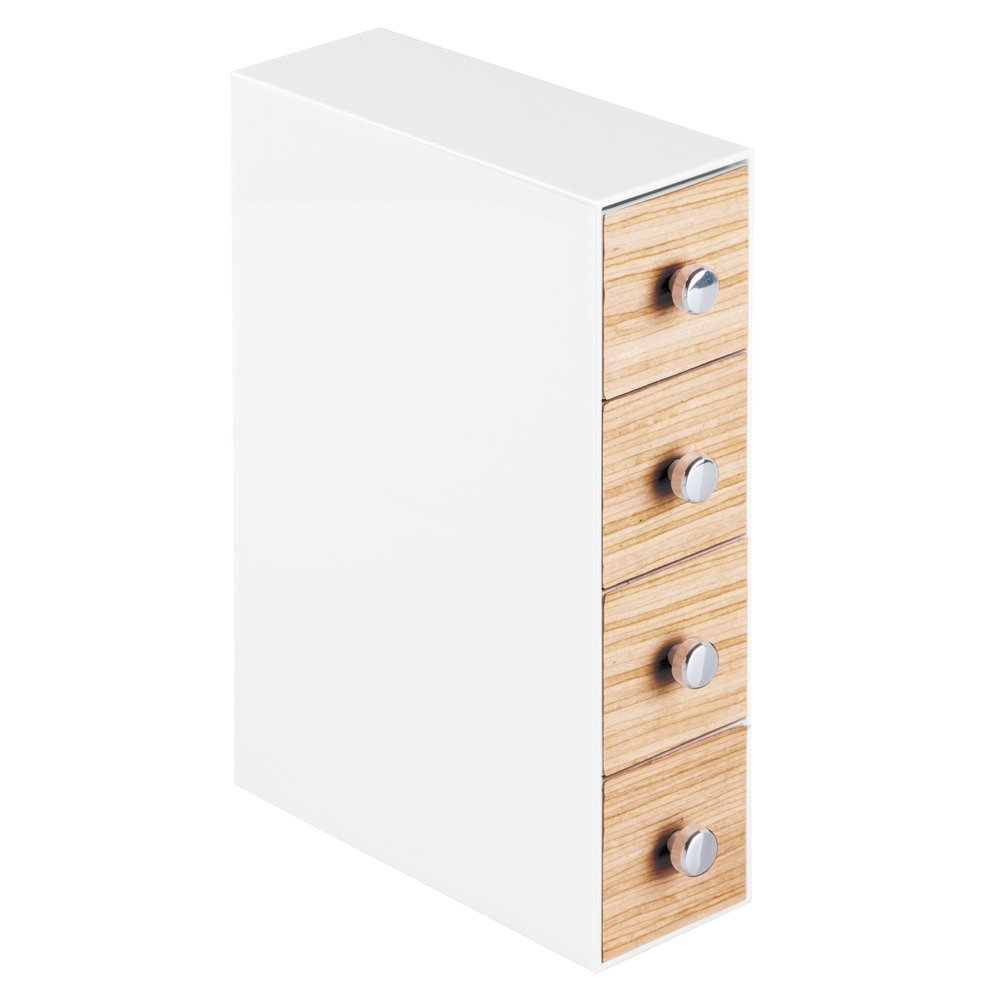 InterDesign RealWood Cosmetic Organizer for Vanity Cabinet to Hold Makeup, Beauty Products - 4 Drawers, Flip, White/Light Wood Finish
