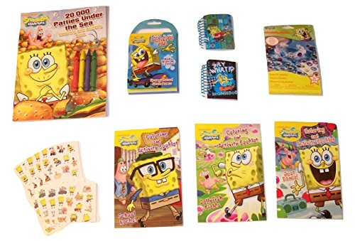 SpongeBob SquarePants Activity Gift Set ~ 20,000 Patties Under the Sea (Coloring Book with Crayons, Activity Booklets, Carry Along, Snap-fit Kit, Lenticular Notebooks, Stickers; 8 Items, 1 (Spongebob Activity Kit)