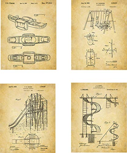 Playground Equipment Patent Wall Art Prints - set of for sale  Delivered anywhere in USA