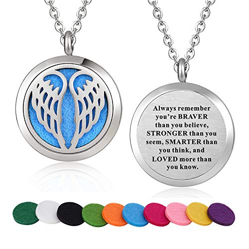 WPFdesign Stainless Steel Angel Wing Aroma Therapy Aromatherapy Essential Oil Diffuser Necklace Locket Pendant