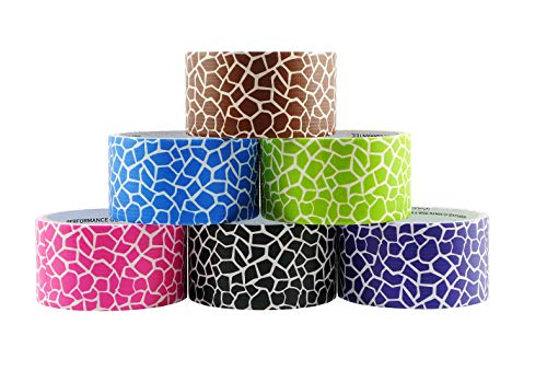 6 Roll Variety Pack of Decorative Duct Style Tape, Giraffe Tape, Each Roll 1.88 Inch x 5 Yards, Ideal for Scrapbooking - Decorating - Signage (6-Pack, -