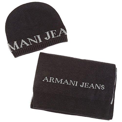 Armani Jeans Chapeau & écharpe coffret Gris Une Taille