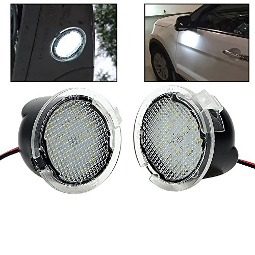 Lightdu LED Puddle White Lights Under Side Rear View Mirror for Ford Explorer Edge Mondeo Taurus Everest Lincoln MKX 2Pcs lights