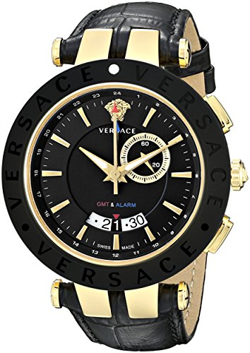 Versace Men's 29G7S9D009 S009 V-Race Gold Ion-Plated Black Dial Leather GMT-Watch