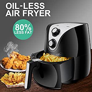 SUPER DEAL Electric Air Fryer XL 3.7 Quart W/ Recipe Cookbook, Timer, Temperature Control , Detachable Dishwasher Safe Basket, Fry Healthy with 80% Less Fat