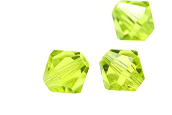 7ccc4e74e Image Unavailable. Image not available for. Color: 100pcs 3mm Adabele  Austrian Bicone Crystal Beads Light Olivine Compatible with Swarovski ...