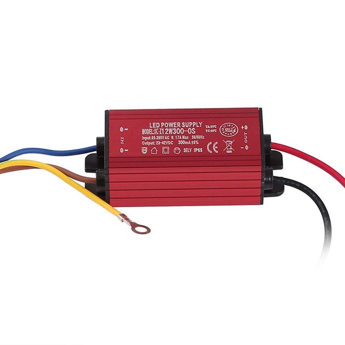 Funnyrunstore Durable 300mA ± 5% 10W IP65 imperméable à l'eau LED éclairage adaptateur de transformateur à courant constant LED d'alimentation pour la lumière d'inondation (couleur: rouge)