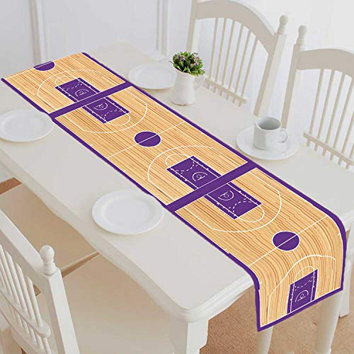 PKQWTM Basketball Court Parquet Cotton and Linen Table Runner Kitchen Dining Room Supplies Size 14x72 Inch - Large Basketball Court Runner