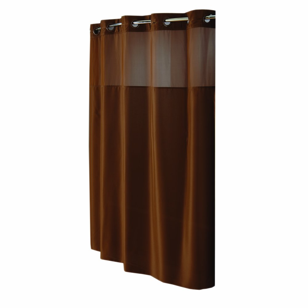 Hookless RBH40MY303 Fabric Shower Curtain - Brown Arcs & Angles