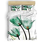 ALAGO Mystic Tulip Flower Duvet Cover Sets Floral Green X-ray Decorative 3 Pieces Bedding Sets Queen Size Including 1 Quilt Cover 2 Pillow Cases