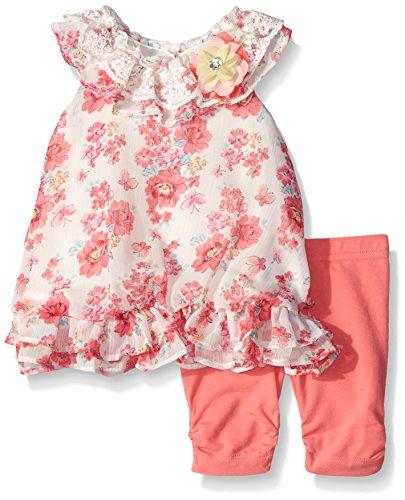 Nannette Little Girls Floral Chiffon Bubble Legging Set, Off White/Coral, 6-9 Months