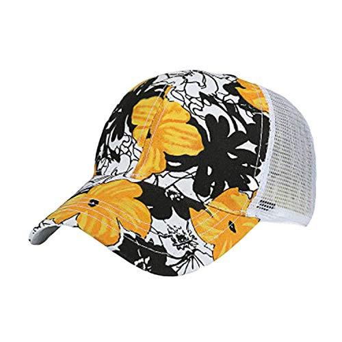 キャップ女性の男性調整可能なカラフルなフラワープリント野球帽メッシュキャップシェード夏,黄,調節可能な