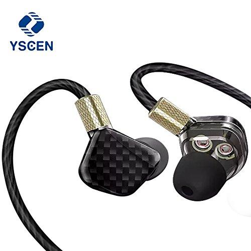 Cheap In ear monitor YSCEN in-ear monitors bass earphones With Microphone dual driver earbuds Stereo Sports HIFI dj earphones running earbuds Earplugs-black