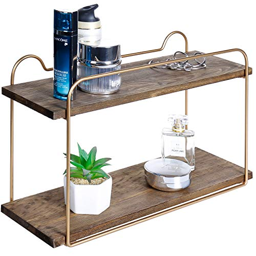 MyGift 2-Tier Wood & Metal Brass Tone Bathroom Vanity Shelf Organizer ()