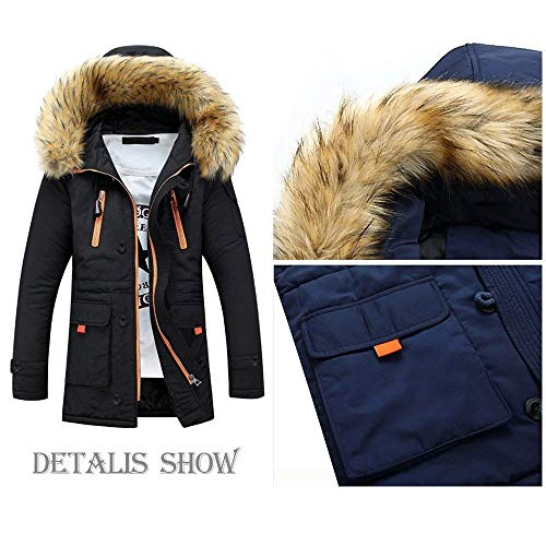 Schwarz Pilot Outdoor Jacket Collar Autumn Apparel Men's Jacket Jacket Fur Windproof Winter Hoodies Jacket Parka Coat Men Winter Men Jacket Hooded Coat 1UZnUx7