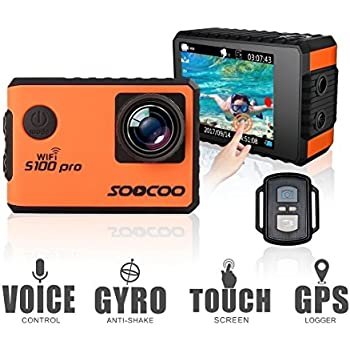 """4K Action Camera 20MP WiFi Waterproof Sports Camera SOOCOO S100Pro 2 """" LCD Touchscreen Voice Control 170° Wide-Angle Lens 2.4GHz Remote Control, 2 Pcs Rechargeable Batteries, Free 20+ Accessories Kits"""