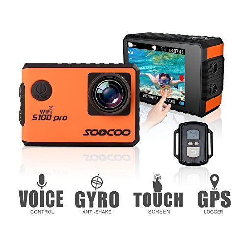 4K Action Camera 20MP WiFi Waterproof Sports Camera SOOCOO S100Pro 2 '' LCD Touchscreen Voice Control 170° Wide-Angle Lens 2.4GHz Remote Control, 2 Pcs Rechargeable Batteries, Free 20+ Accessories Kits by SOOCOO