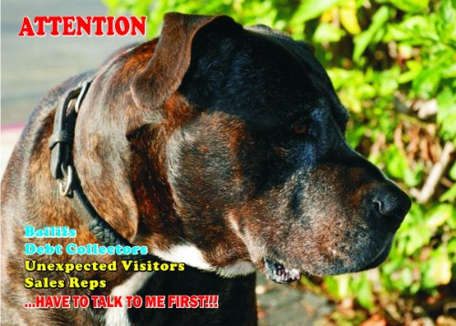 - Attention - Beware / Fun Sign Dog Perro de Presa Canario Dog for your home or house SF1892 Size A4