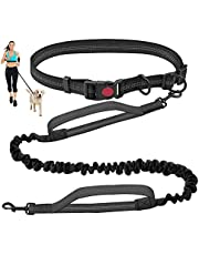 Hands Free Dog Leash for Running Walking Training Hiking, Dual-Handle Reflective Bungee , Adjustable Waist Belt, Shock Absorbing, Ideal for Medium to Large Dogs (Black)