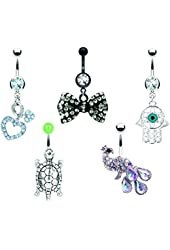 Tribal Set Belly Button Rings 5 Pieces Dangle Belly Button Rings Wholesale Lot 14G