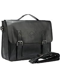 Men Vintage PU Leather Briefcase 15 inch Laptop Shoulder Messenger Bag Tote